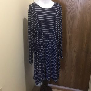 Navy/White Stripped Long Sleeve Swing Dress